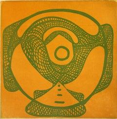 Wheelhouse #2, abstract baseball inspired etching, aquatint print, ochre, green