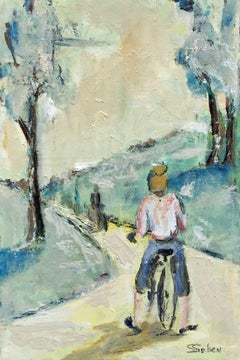 Bicycle Path, Painting, Oil on Wood Panel