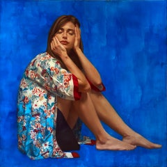 MIND GARDEN, bright blue, photo-realism, sitting woman, blue, floral
