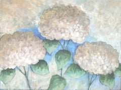 Three Hydrangeas, Painting, Acrylic on Canvas