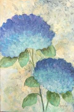 Two Blue Hydrangeas, Painting, Acrylic on Canvas