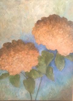 Two Peach Hydrangeas, Painting, Acrylic on Canvas