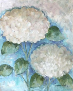 Two White Hydrangeas, Painting, Acrylic on Canvas