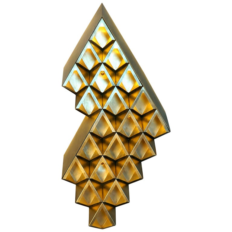 Sharp Diamond Light, Brass Sconce in Diamond and Customizable Configurations For Sale