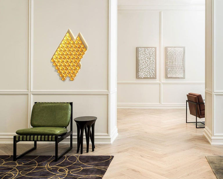 Brushed Sharp Diamond Light Brass Sconce in Triangle and Customizable Configurations For Sale
