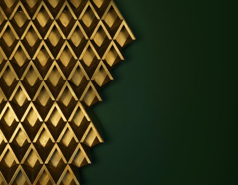 Sharp Diamond Light, Brass Sconce in Twin Peaks and Customizable Configurations 2