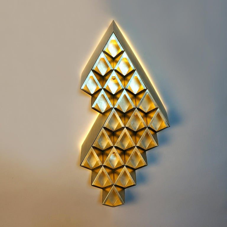Modern Sharp Diamond Light, Brass Sconce in Twin Peaks and Customizable Configurations For Sale