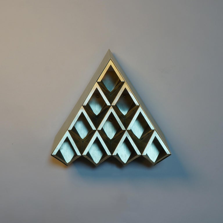 American Sharp Diamond Light, Brass Sconce in Twin Peaks and Customizable Configurations For Sale