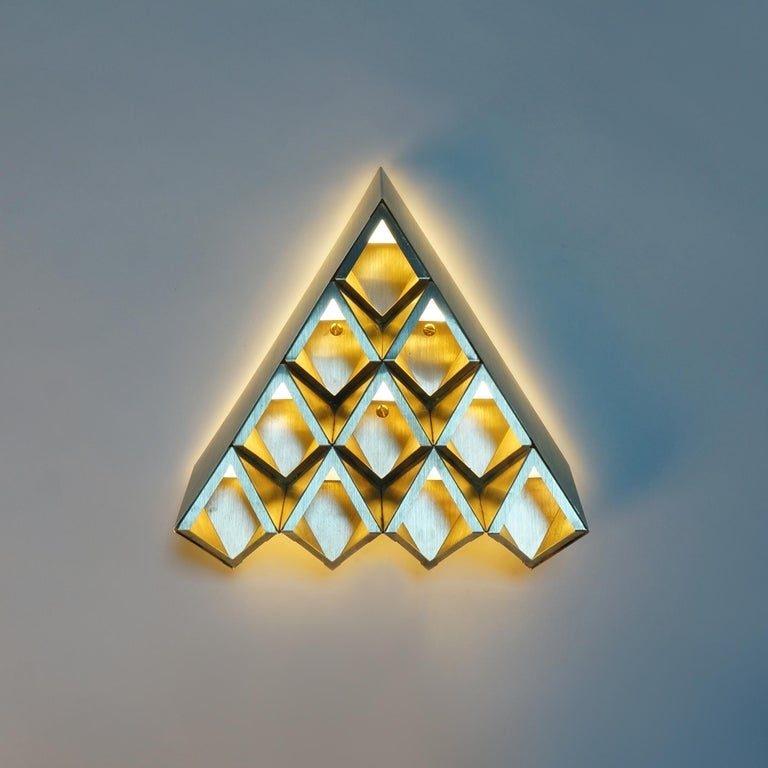 Brushed Sharp Diamond Light, Brass Sconce in Twin Peaks and Customizable Configurations For Sale