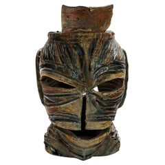 """""""Sharp is the Action"""" Mask Sculpture by Dave Root, High-Fire Stoneware, Signed"""