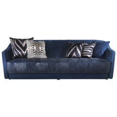 Sharpei 3-Seater Sofa in Blue Leather by Roberto Cavalli Home Interiors