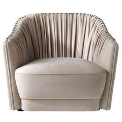 Sharpei Armchair in Beige Leather by Roberto Cavalli Home Interiors