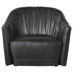 Sharpei Armchair in Black Leather by Roberto Cavalli Home Interiors