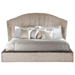Sharpei Bed in Sand Velvet by Roberto Cavalli Home Interiors