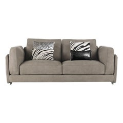 Sharpei.5 2-Seat Sofa in Grey Leather by Roberto Cavalli