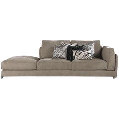 Sharpei.5 Left Dormeuse in Gray Leather by Roberto Cavalli Home Interiors