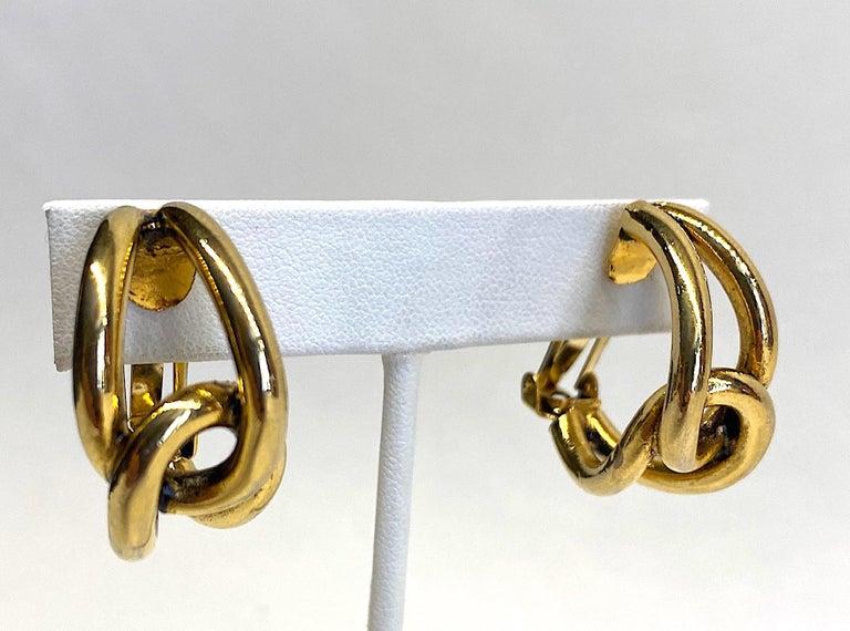 Sharra Pagano 1980s Gold Hoop Earrings For Sale 8