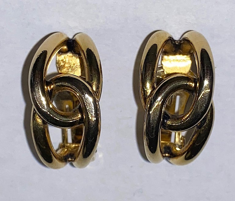 Sharra Pagano 1980s Gold Hoop Earrings In Good Condition For Sale In New York, NY