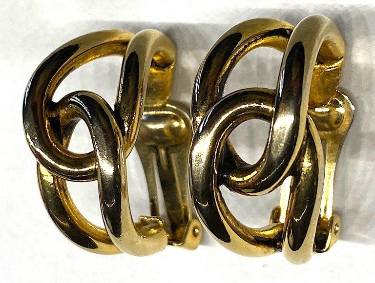 Sharra Pagano 1980s Gold Hoop Earrings For Sale 1