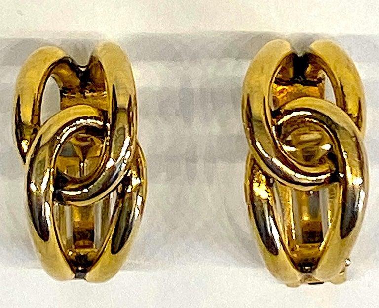 Sharra Pagano 1980s Gold Hoop Earrings For Sale 3