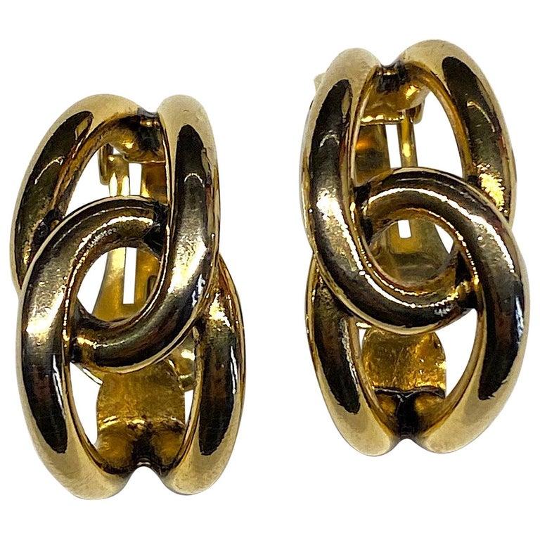 Sharra Pagano 1980s Gold Hoop Earrings For Sale