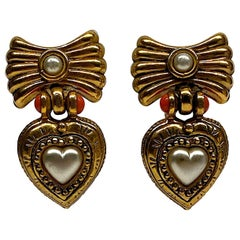 Sharra Pagano 1980s Heart Pendant Earrings