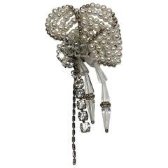 Sharra Pagano Impressive & Large Pearl , Rhinestone and Glass Flower Brooch