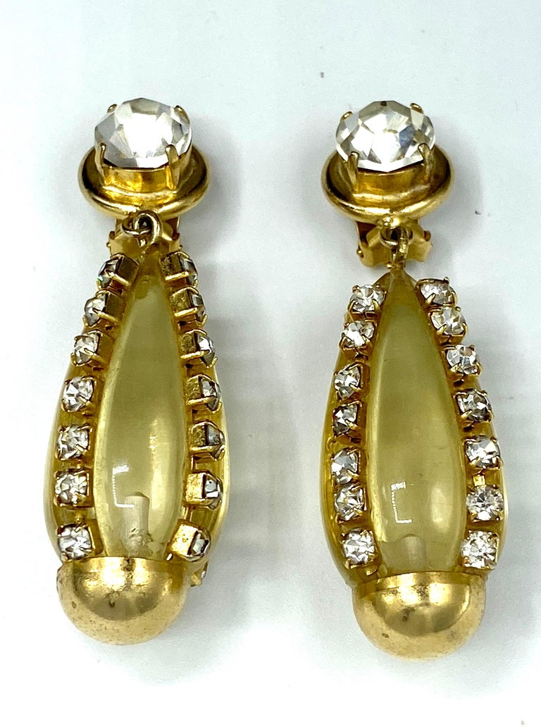 Sharra Pagano, Italy 1980s Gold, Rhinestone & Lucite Pendant Earrings For Sale 8