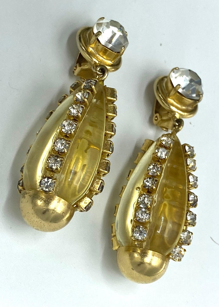 Sharra Pagano, Italy 1980s Gold, Rhinestone & Lucite Pendant Earrings For Sale 9
