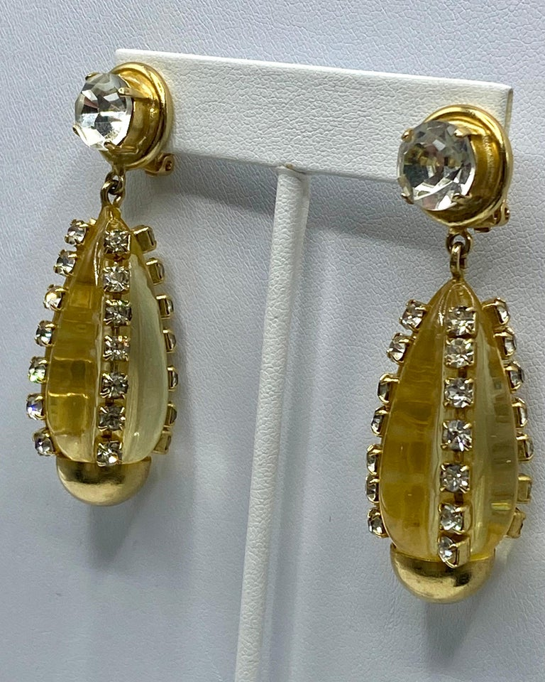 Women's Sharra Pagano, Italy 1980s Gold, Rhinestone & Lucite Pendant Earrings For Sale