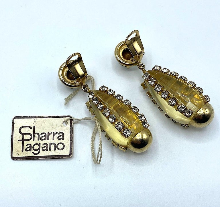 Sharra Pagano, Italy 1980s Gold, Rhinestone & Lucite Pendant Earrings For Sale 4