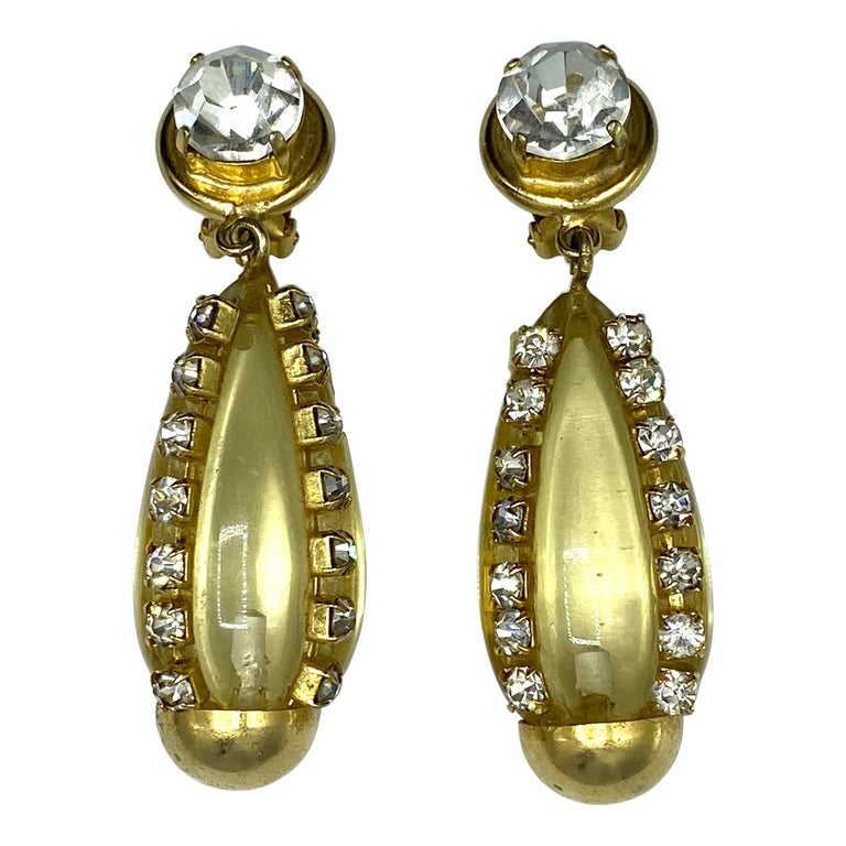 Sharra Pagano, Italy 1980s Gold, Rhinestone & Lucite Pendant Earrings For Sale