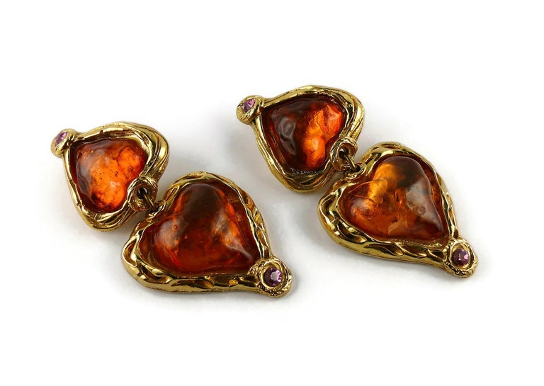Sharra Pagano Vintage Oversized Resin Hearts Dangling Earrings In Fair Condition In Nice, FR