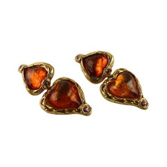 Sharra Pagano Vintage Oversized Resin Hearts Dangling Earrings