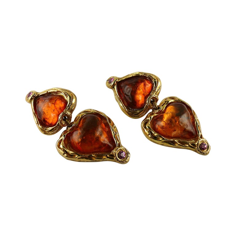 Sharra Pagano Vintage Oversized Resin Hearts Dangling Earrings