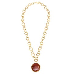 Sharron Yarro Hand Hammered Chain Link and Carnelian Necklace