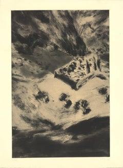 1999 Shaul Schatzberg 'Birdseye Landscape Composition' Abstract Black & White Is