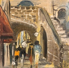 Israeli Judaica Oil Painting, Street Scene Jerusalem or Safed