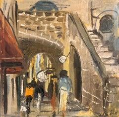 Israeli Judaica Oil Painting, Street Scene Jerusalem or Safed