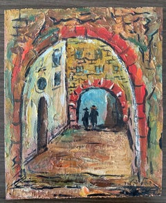 Israeli Judaica Oil Painting Street Scene Jerusalem or Safed Hasidic Rabbi