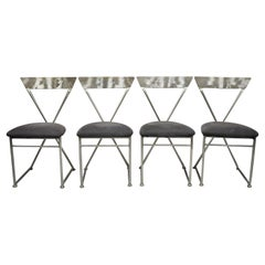 Shaver Howard Italian Modernist Brushed Steel Metal Dining Chairs, Set of 4