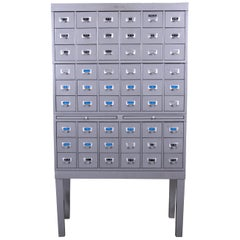 Shaw Walker Midcentury Industrial Age 54-Drawer Metal Library Card Catalog