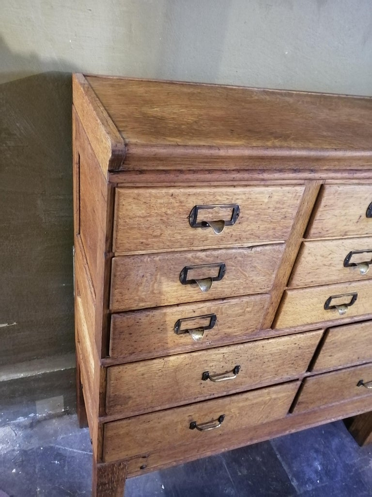 Industrial Shaw Walker Oak Stacking Cabinet with Drawers For Sale