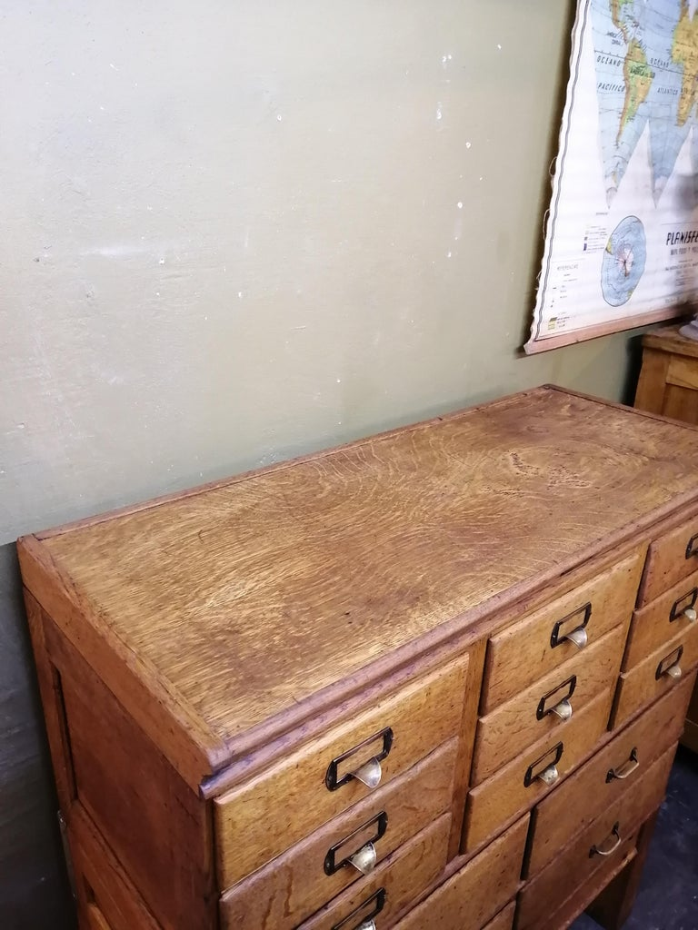 American Shaw Walker Oak Stacking Cabinet with Drawers For Sale