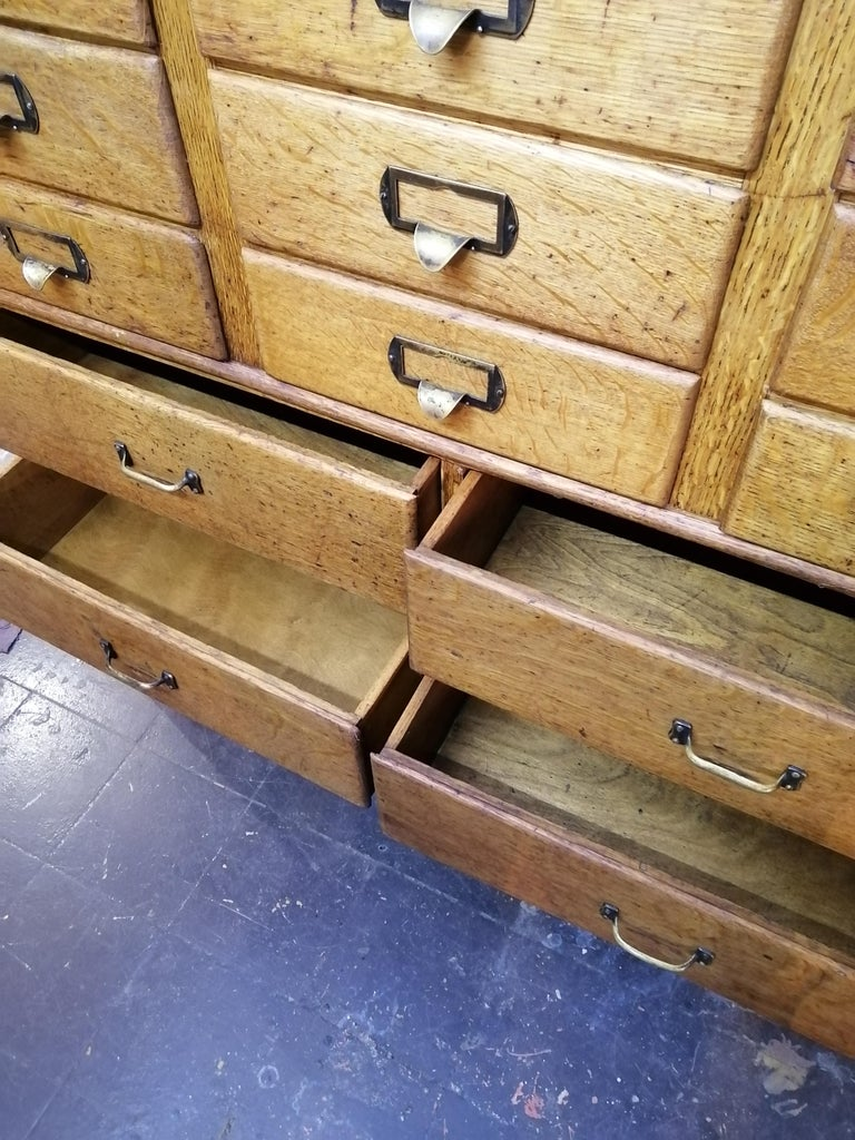 Brass Shaw Walker Oak Stacking Cabinet with Drawers For Sale