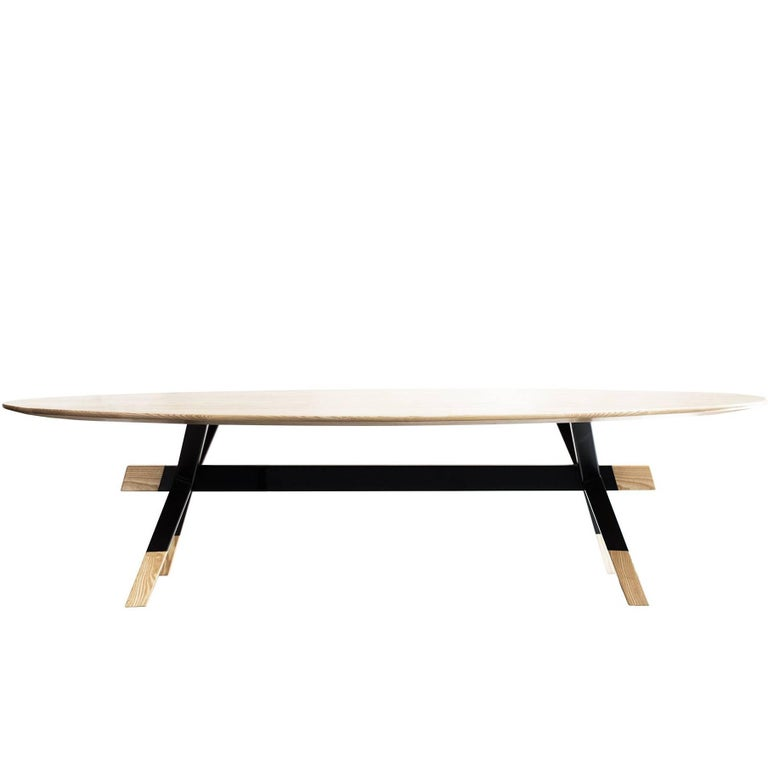"""""""Shawii"""" Contemporary Dining Table, Ash Wood and Powder Coated Steel"""