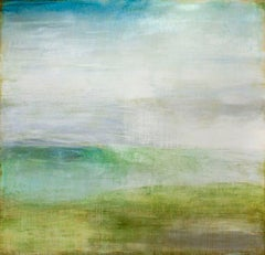 Doubtless: Abstract Green and Pastel Robin's Egg Blue Landscape Painting