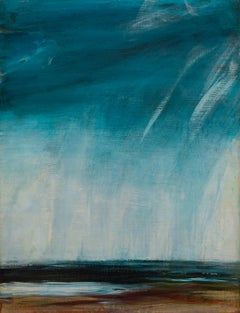 Given Back: Abstract Expressionist Teal & Light Blue Landscape Painting
