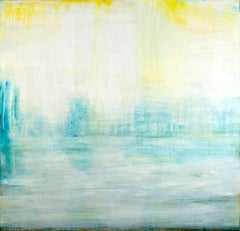 """Listening""   Luminous large abstraction, white, yellow, blue, water reference"