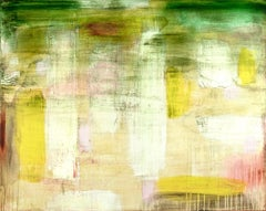 """Only Love""  Light Filled Abstraction in Green, Pink White, Yellow and Tan"